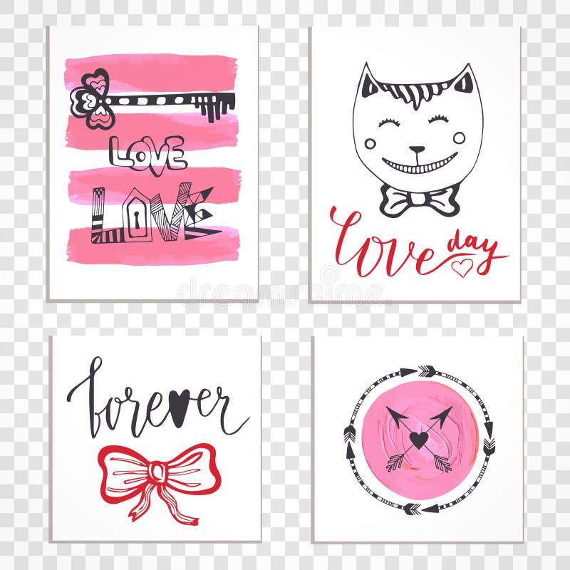 Tarjetas dibujadas mano linda del día de tarjetas del día de San Valentín con las letras stock de ilustración