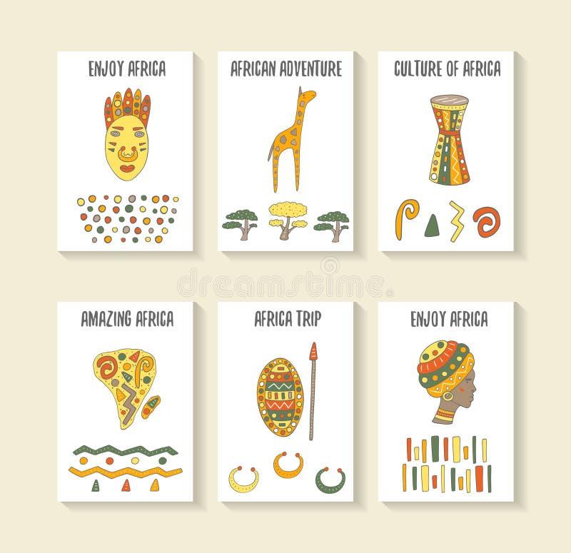 Tarjetas dibujadas mano linda del tema de África del garabato ilustración del vector