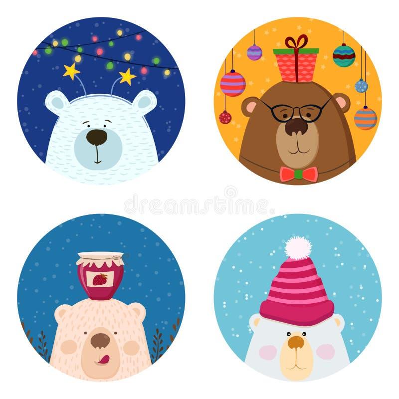 Tarjetas dibujadas mano retra linda con el oso divertido, fondo de la nieve Para los niños menú, vacaciones de invierno, cumpleañ ilustración del vector