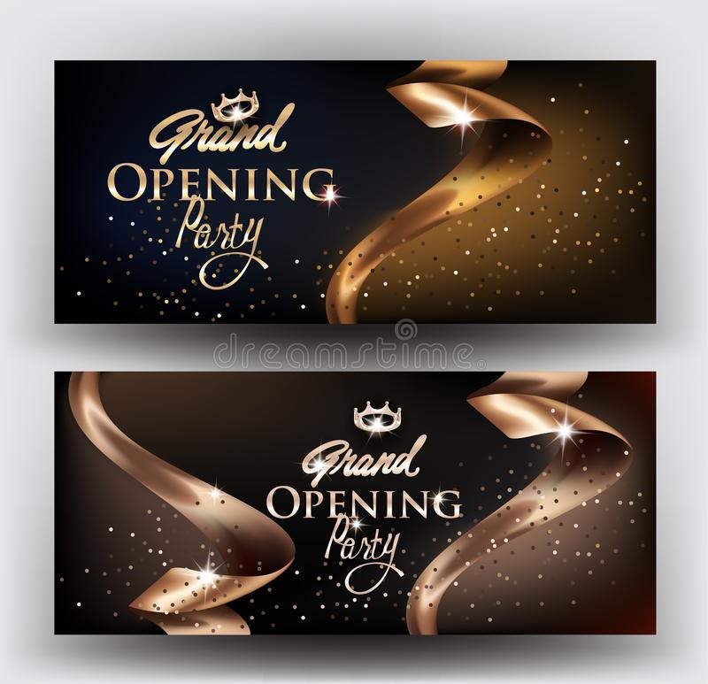 Tarjetas elegantes de la invitación de la gran inauguración con las cintas del oro y el polvo de oro libre illustration
