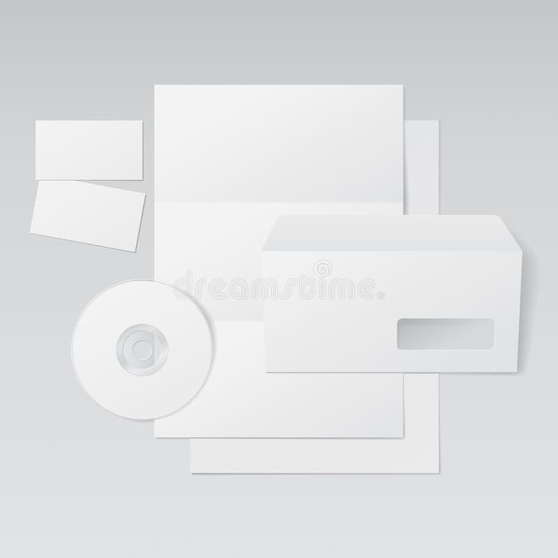 Tarjetas en blanco de la carta, del sobre, de visita y CD libre illustration