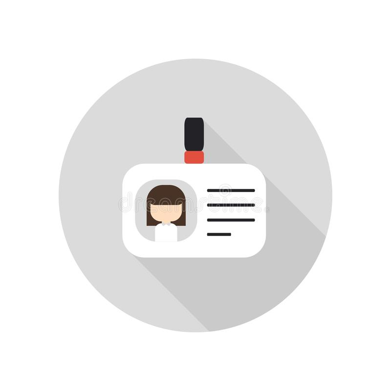 Tarjetas en blanco de la identificación con el icono del corchete Insignia de la identificación Carné de identidad stock de ilustración