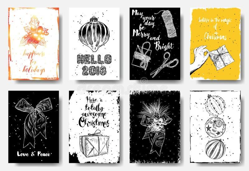 Tarjetas exhaustas de la mano de la Navidad con la guirnalda de la Navidad con la baya y libre illustration