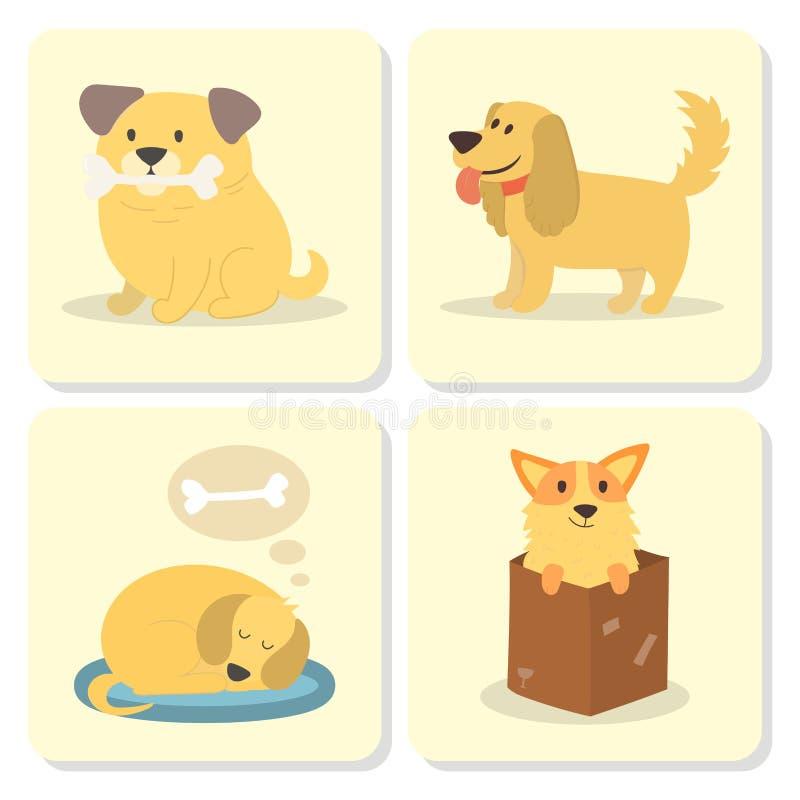 Tarjetas felices cómicas lindas de la raza del mamífero del perrito criado en línea pura divertido de los caracteres de los perro ilustración del vector