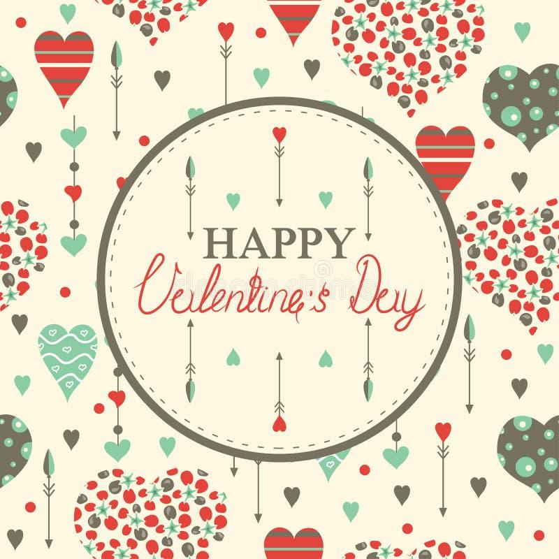 Tarjetas felices del día de tarjeta del día de San Valentín con los corazones libre illustration