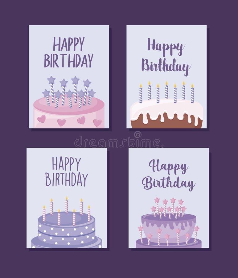 Tarjetas fijadas del feliz cumpleaños con la torta dulce stock de ilustración