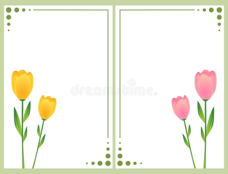 Tarjetas florales con los tulipanes ilustración del vector