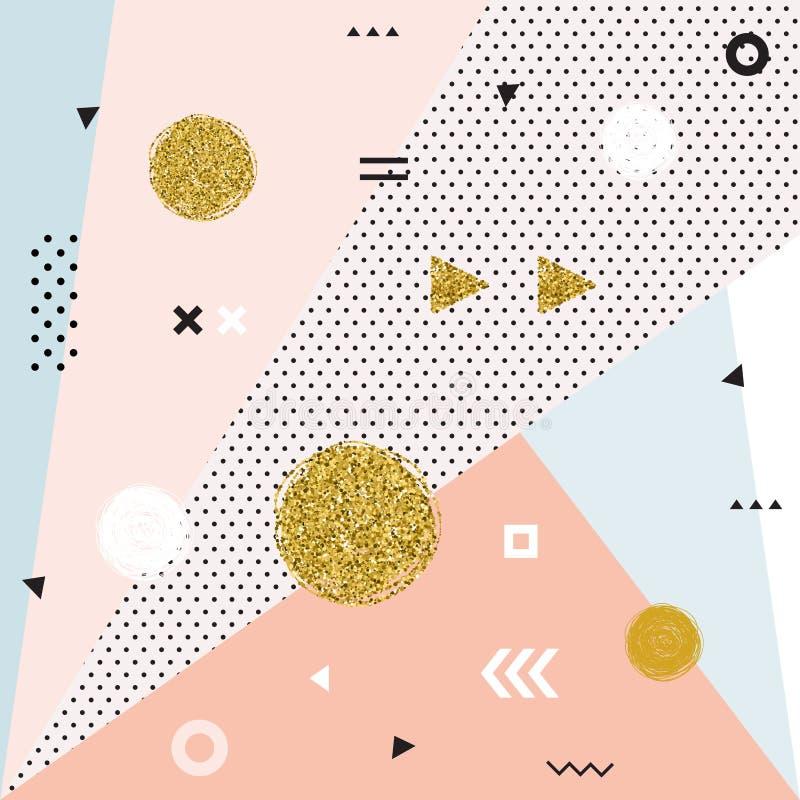 Tarjetas geométricas de moda de Memphis de los elementos ilustración del vector