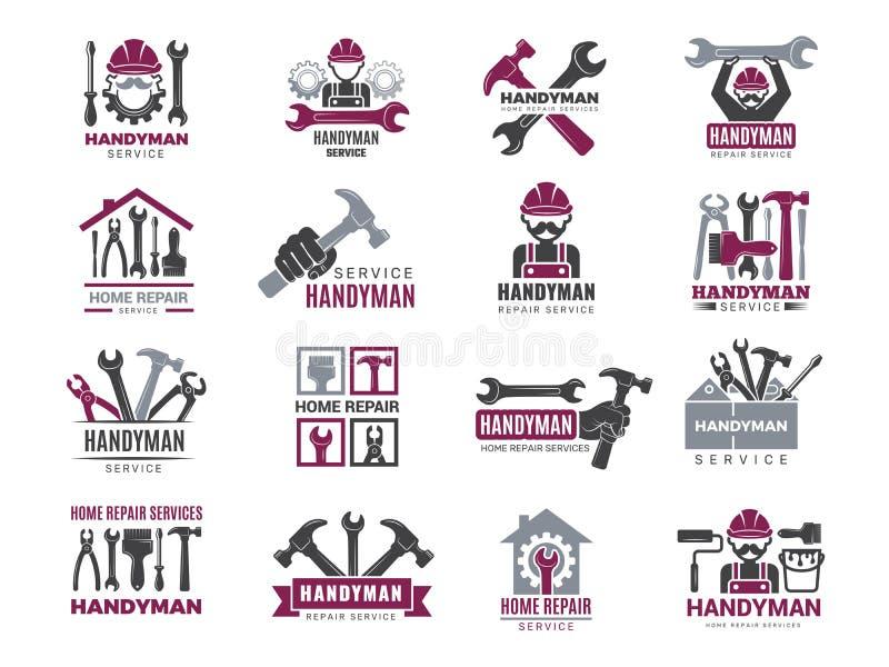 Tarjetas Handyman Fabricantes y trabajadores Símbolos de contratistas técnicos Logotipos vectoriales para los artesanos ilustración del vector