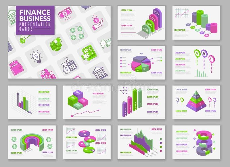 Tarjetas infographic isométricas de la presentación stock de ilustración