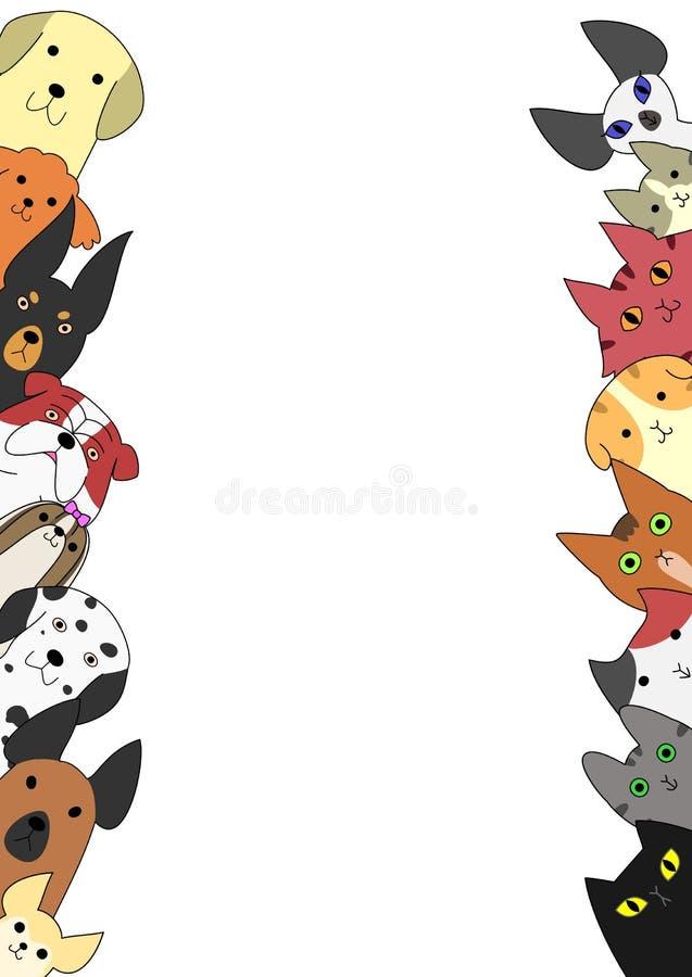 Tarjetas lindas de los perros y de los gatos ilustración del vector