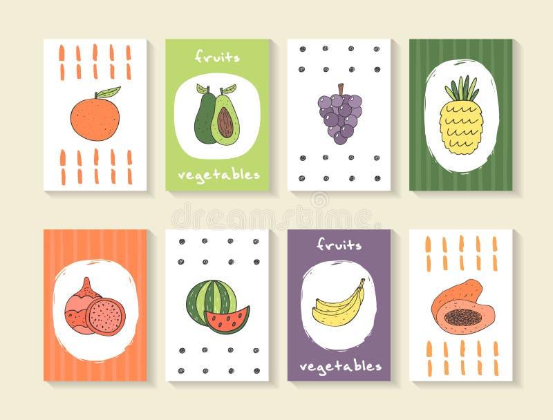 Tarjetas lindas del garabato, folletos con las frutas libre illustration