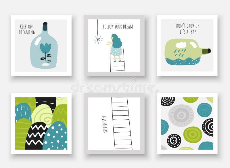 Tarjetas lindas del garabato, postales con la muchacha, estrella, escalera, botella, nube, flores, colinas ilustración del vector