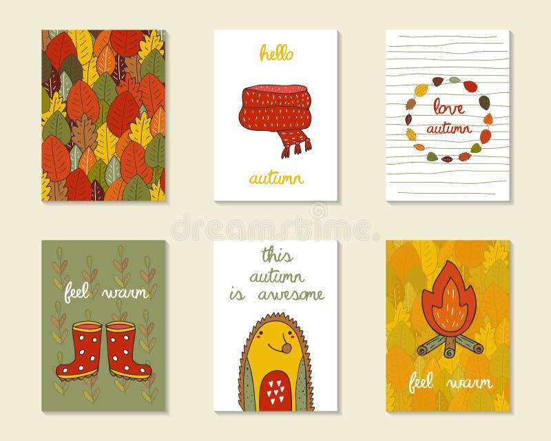 Tarjetas lindas del otoño del garabato, folletos stock de ilustración