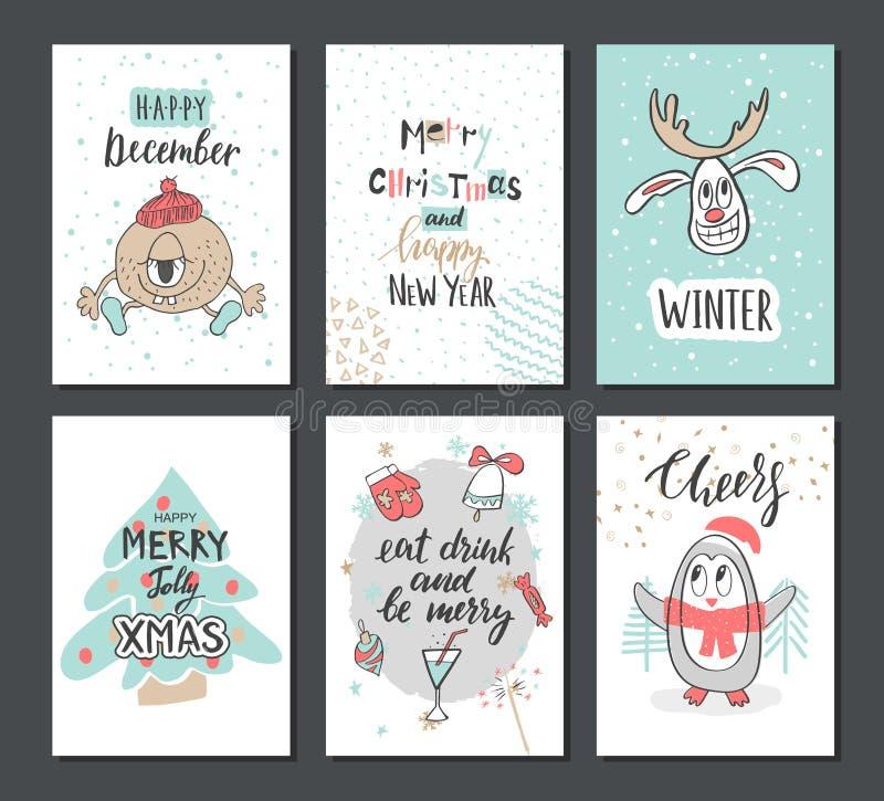 Tarjetas lindas dibujadas mano de la Navidad con el reno, el árbol de Navidad, el pingüino y otros artículos Ilustración del vect ilustración del vector
