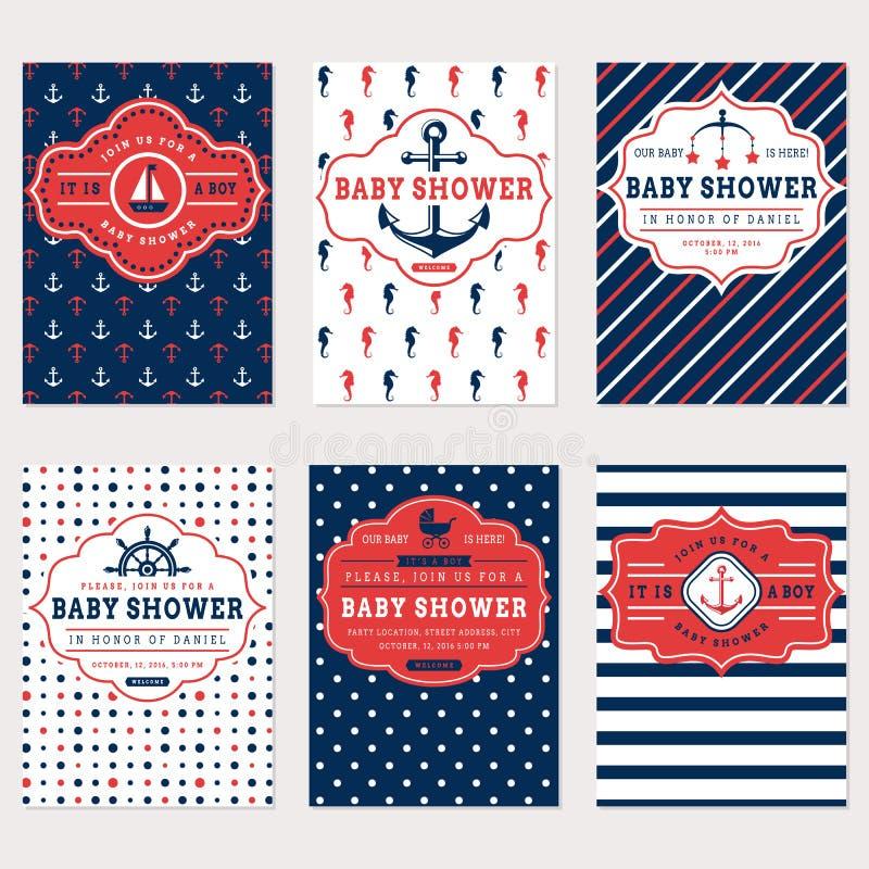 Tarjetas náuticas de la fiesta de bienvenida al bebé stock de ilustración