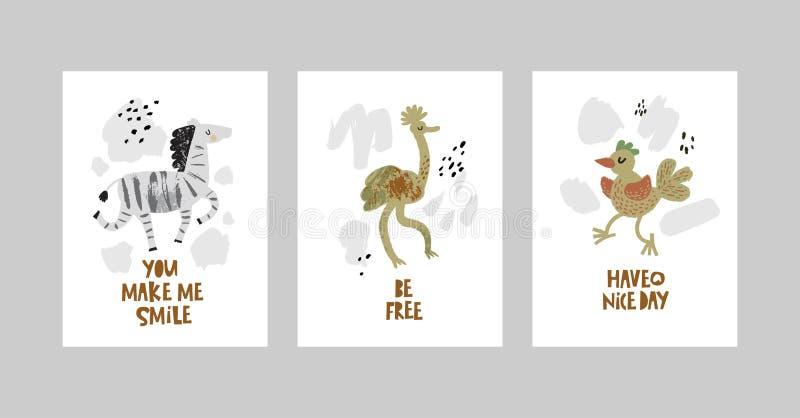 Tarjetas o carteles fijados con los animales lindos, cebra, avestruz, pájaro en estilo de la historieta stock de ilustración