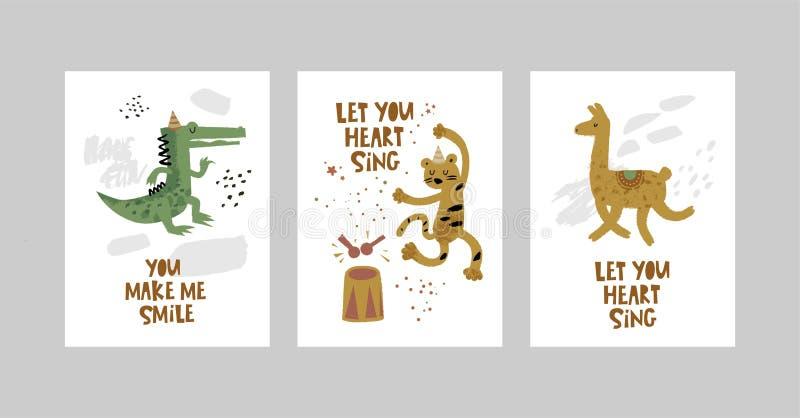 Tarjetas o carteles fijados con los animales lindos, cocodrilo, leopardo, lama en estilo de la historieta ilustración del vector