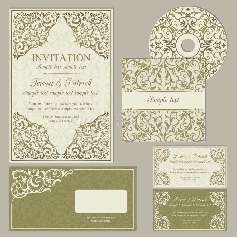 Tarjetas o invitaciones clásicas de visita fijadas stock de ilustración