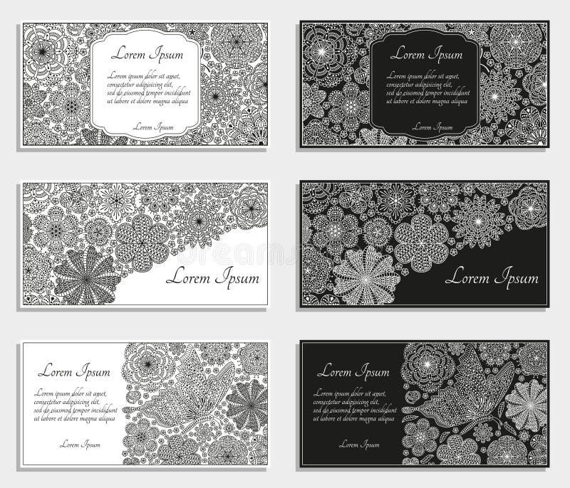 Tarjetas o plantillas de felicitación con las flores estilizadas ilustración del vector