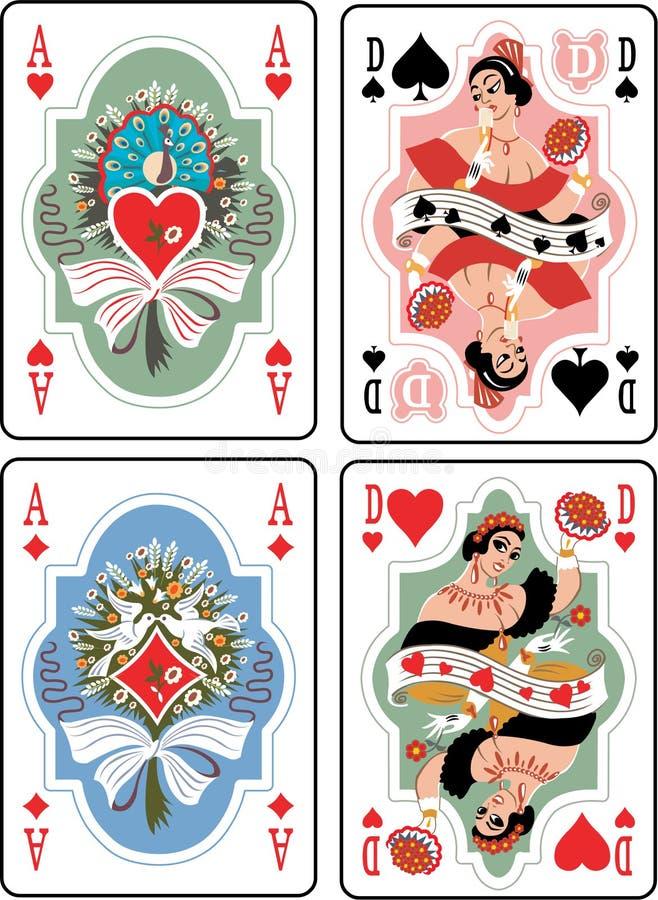 Tarjetas que juegan ilustración del vector