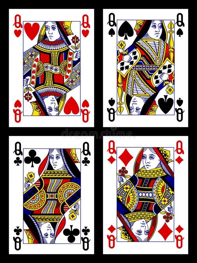 Tarjetas que juegan - reinas stock de ilustración