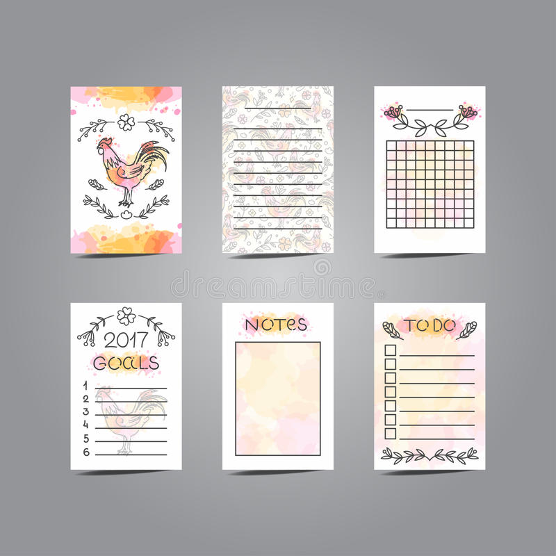 Tarjetas que meten en diario imprimibles con el ejemplo del gallo línea estilo stock de ilustración