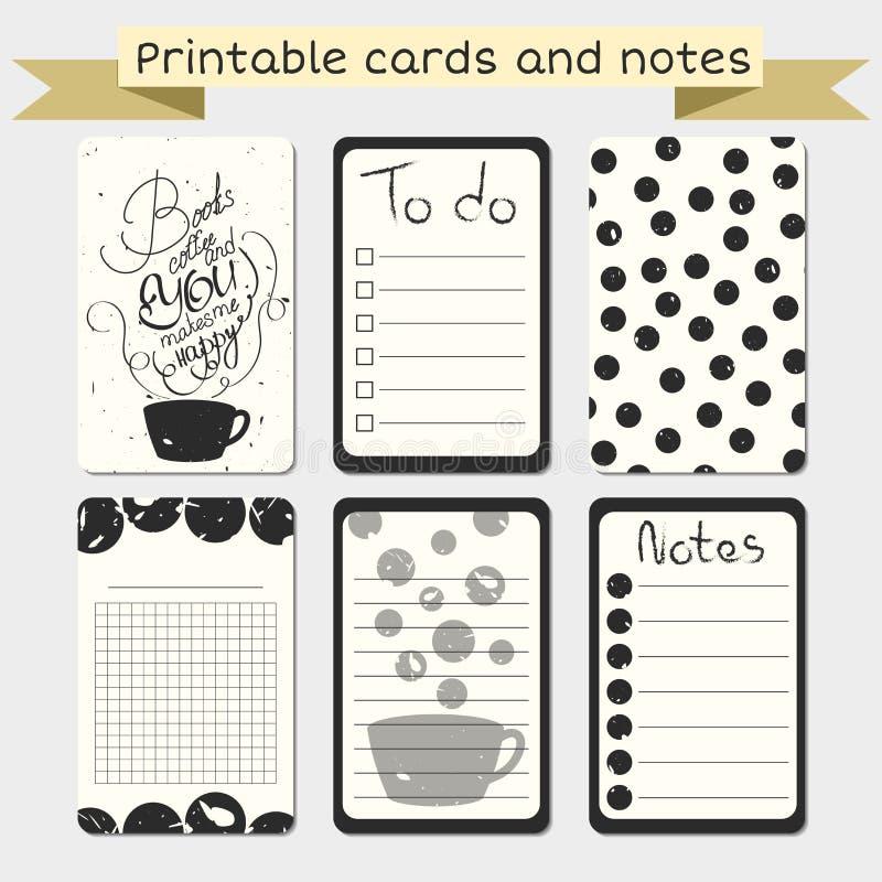 Tarjetas que meten en diario imprimibles Elegante para hacer la lista libre illustration