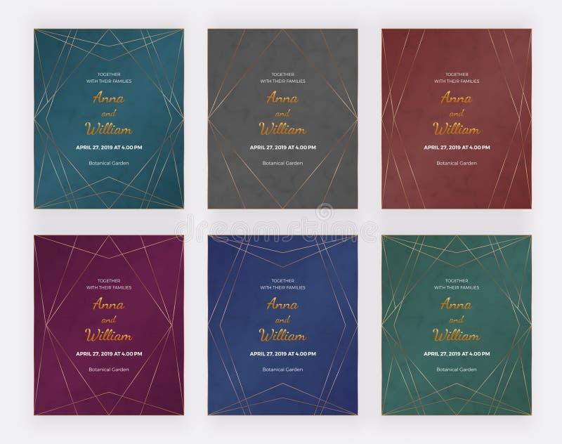 Tarjetas superiores de lujo del diseño con las líneas poligonales de oro marcos en la textura de mármol Invitación que se casa ge stock de ilustración