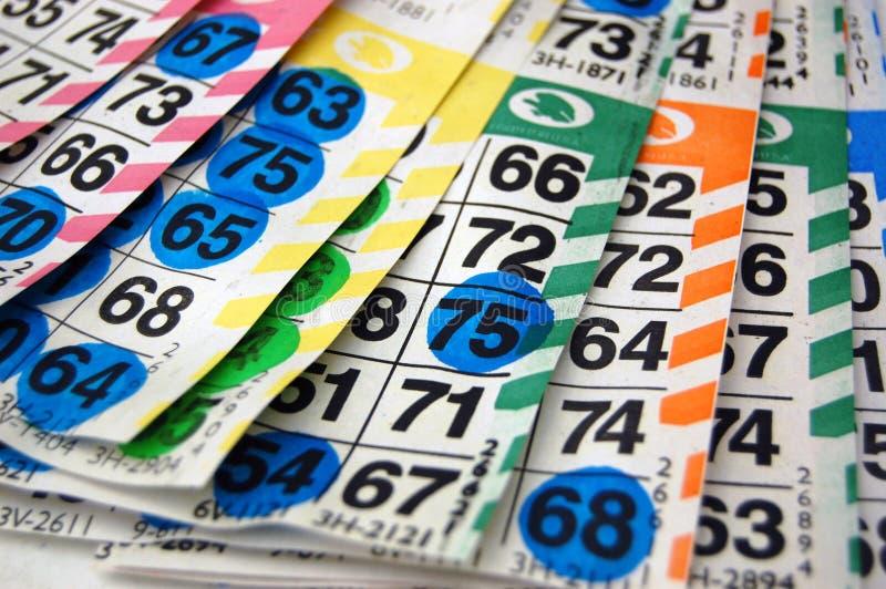 Tarjetas/tarjetas del bingo imágenes de archivo libres de regalías