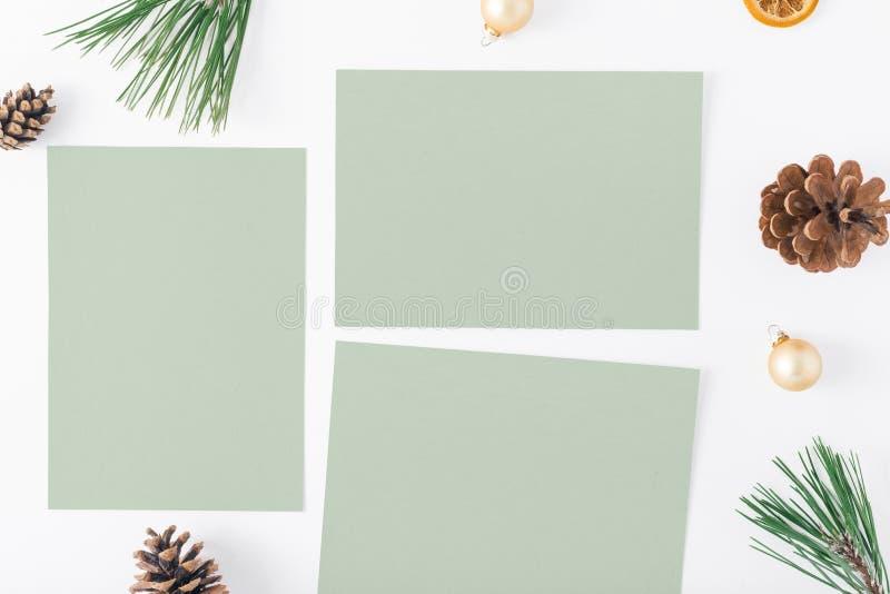 Tarjetas vacías, árbol de navidad, conos del pino, naranja seca, la Navidad b ilustración del vector