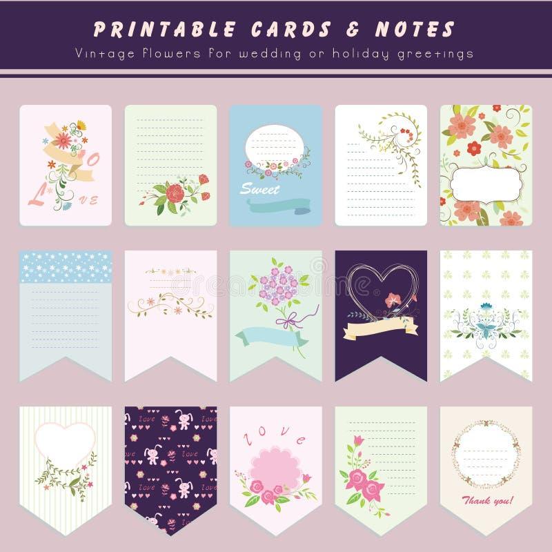 Tarjetas y notas, tarjetas imprimibles de la flor libre illustration
