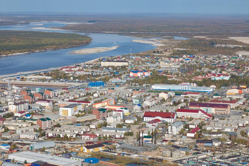 Tarko销售镇的顶视图, Yamalo-Nenets自治Okrug 免版税库存图片