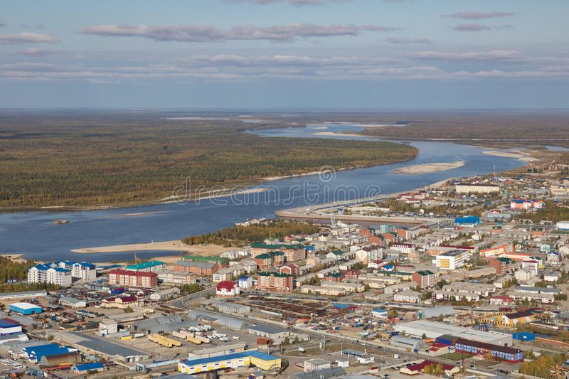 Tarko销售镇的顶视图, Yamalo-Nenets自治Okrug 图库摄影