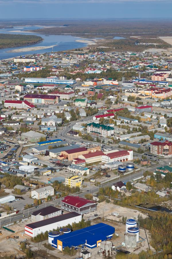 Tarko销售镇的顶视图, Yamalo-Nenets自治Okrug 库存照片