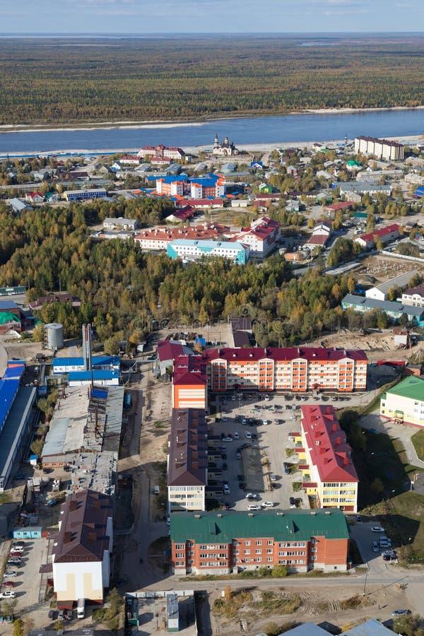 Tarko销售镇的顶视图, Yamalo-Nenets自治Okrug 库存图片
