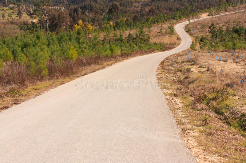 Tarmac road to the top of the hill