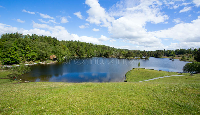 Tarn Hows Cumbria. Tarn Hows is a popular beauty spot in the English Lake District. This man made lake is formed from 3 smaller lakes. At one stage this was stock photos