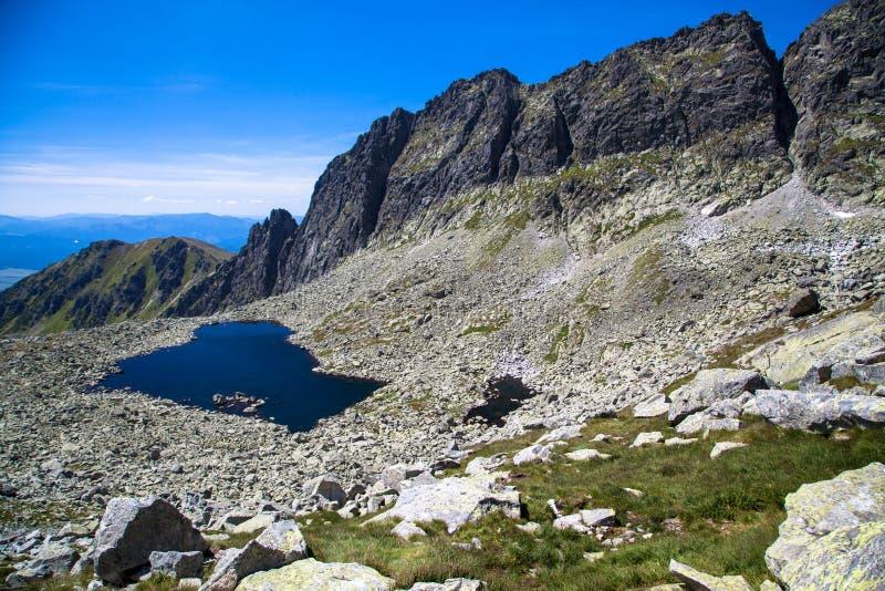 Tarn in mountains. Tarn - Wahlenbergovo pleso - in High Tatras mountains, Slovakia stock photo