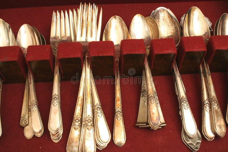 Tarnished silverware stock image