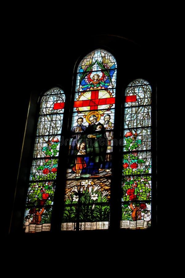 Tarnow, Poland - May 01, 2014: Holy Family Church. Tarnow, Poland - May 01, 2014: Stained glass windows in Holy Family Church royalty free stock images