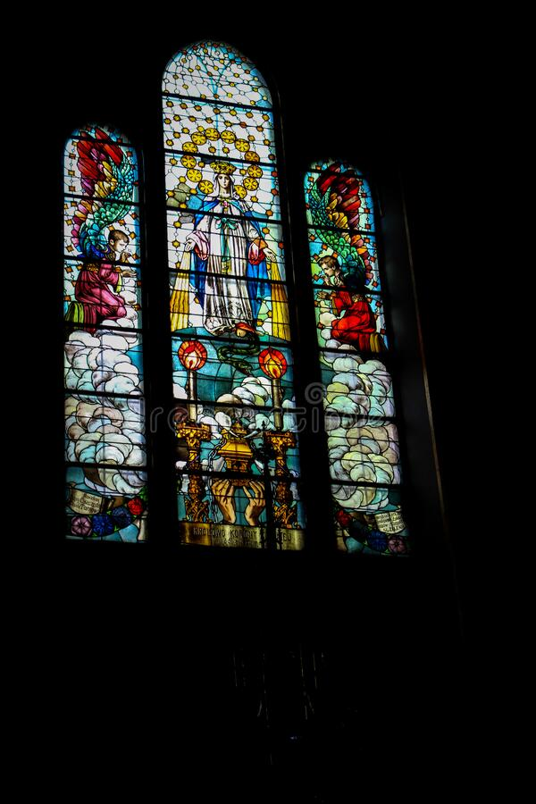 Tarnow, Poland - May 01, 2014: Holy Family Church. Tarnow, Poland - May 01, 2014: Stained glass windows in Holy Family Church stock images