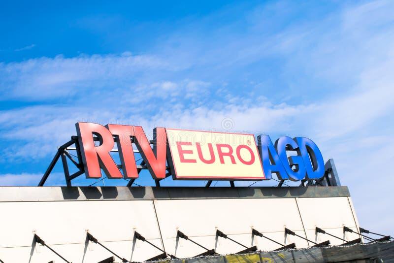 Tarnowskie GÃ ³ry, Polen - 14/04/2019 - euro AGD för företagsskylt RTV royaltyfri fotografi