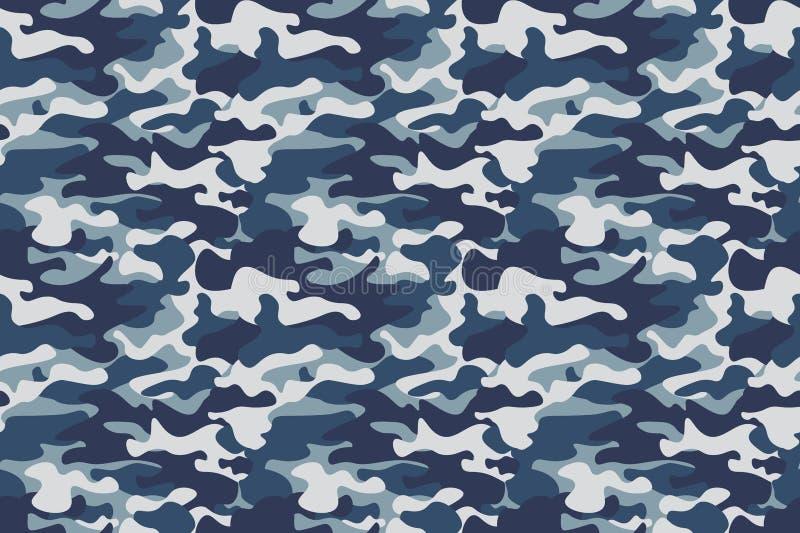 Tarnungs-Musterhintergrund der horizontalen Fahne nahtloser Klassische Kleidungsart Maskierungscamo Wiederholungsdruck Blau, Mari lizenzfreie abbildung
