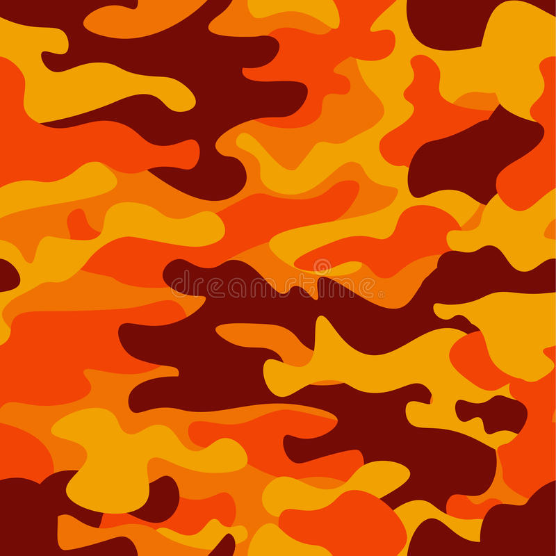 Tarnungsmusterhintergrund Klassische Kleidungsart Maskierungscamo Wiederholungsdruck Orange braunes Gelb des Feuers färbt Wald lizenzfreie abbildung