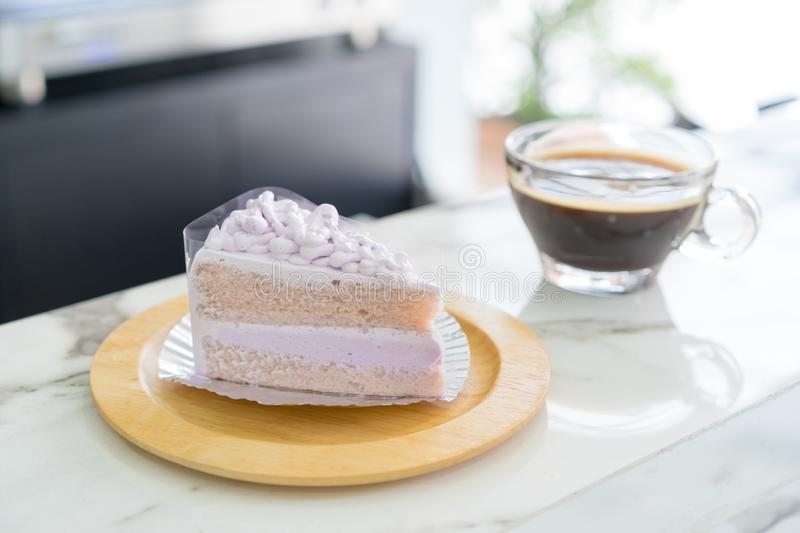 Taro cake on wooden plate stock images