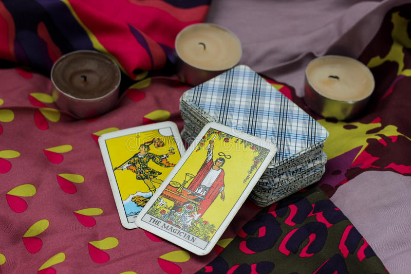 Taro cards. Classic Tarot cards on a desk for telling the future royalty free stock photography