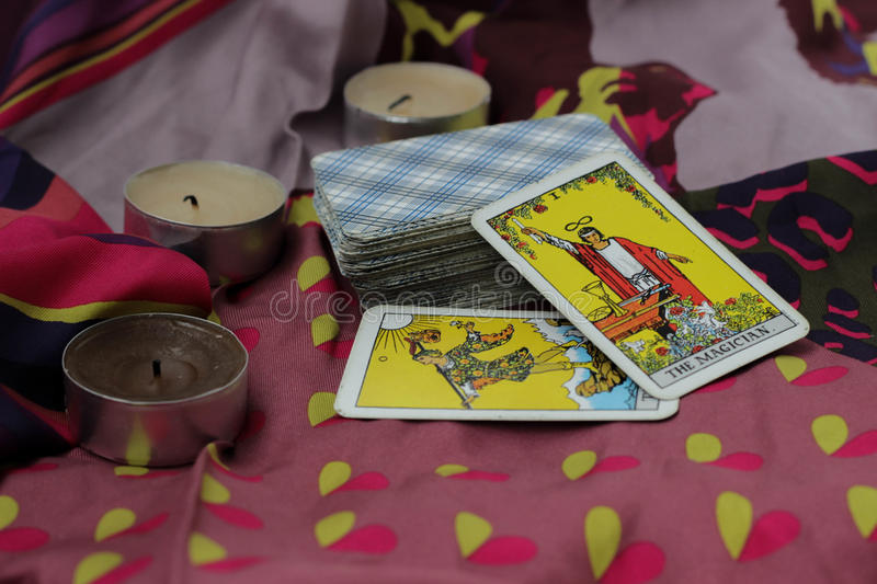 Taro cards. Classic Tarot cards on a desk for telling the future royalty free stock photos