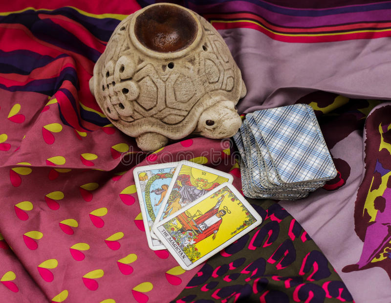 Taro cards. Classic Tarot cards on a desk for telling the future royalty free stock images