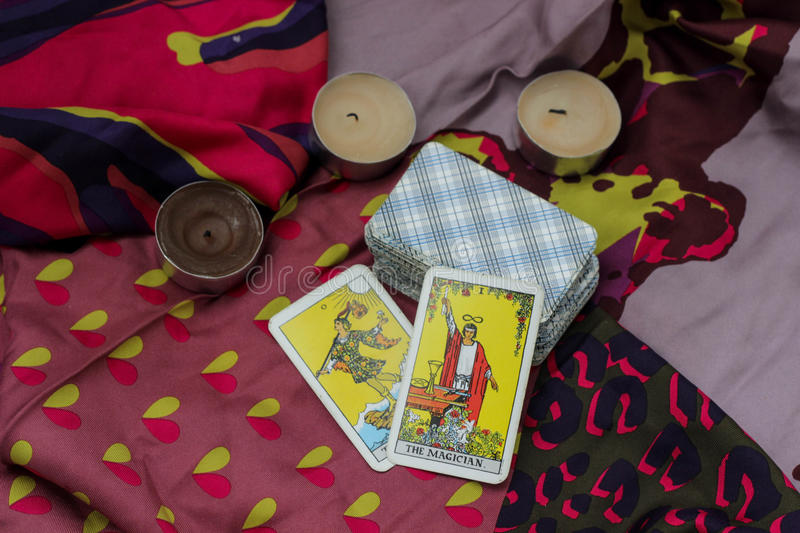 Taro cards. Classic Tarot cards on a desk for telling the future royalty free stock photo
